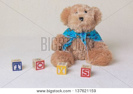 teddy bear with handkerchief and letters toy