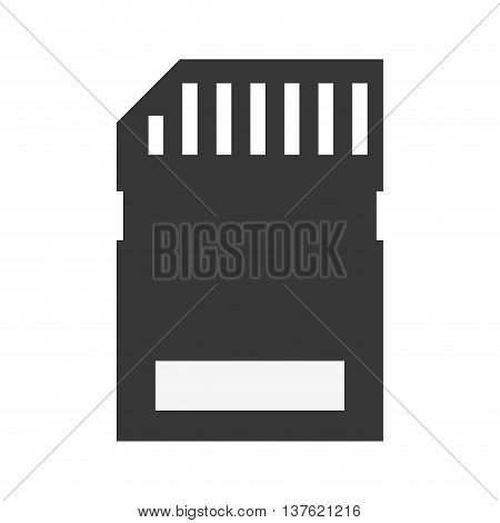 Gadget concept represented by silhouette of camera memory icon. Isolated and flat illustration