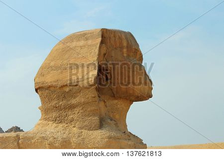 Sphinx statue in Giza Egypt. Ancient architecture
