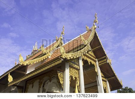The pediment of the temple Thailand This is a Buddhist temple.