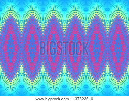 Abstract geometric seamless background. Regular ornaments red and blue with circles pattern yellow turquoise blue.