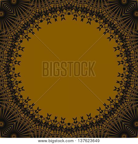 Abstract geometric seamless background. Round golden copy space framed with dark brown lace pattern, luscious and ornate.