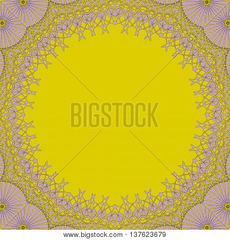 Abstract geometric seamless background. Round yellow copy space framed with pastel purple lace pattern, ornate and dreamy.