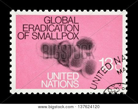 UNITED NATIONS - CIRCA 1978 : Cancelled postage stamp printed by United Nations, that promotes small pox eradication.