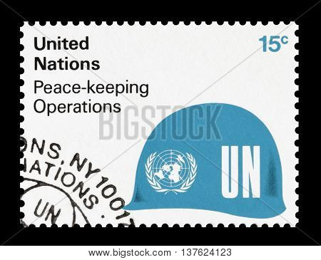 UNITED NATIONS - CIRCA 1980 : Cancelled postage stamp printed by United Nations, that promotes peace keeping operations.