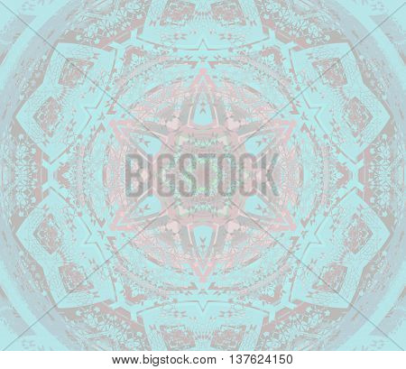 Abstract geometric seamless pastel background. Centered round star ornament pink, brown and blue shades, dreamy and extensive.