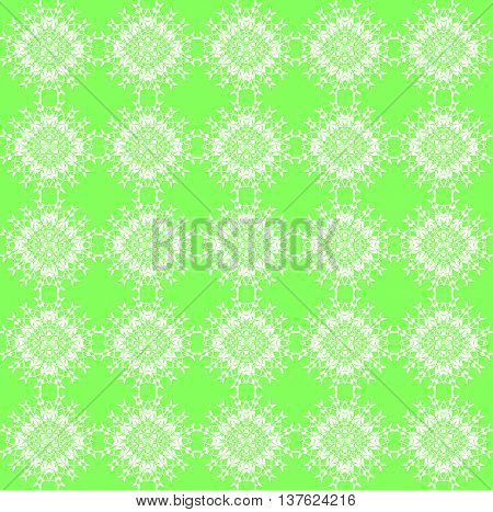 Abstract geometric seamless vintage background. Delicate regular laces pattern white on bright green, diamond pattern, ornate and dreamy.