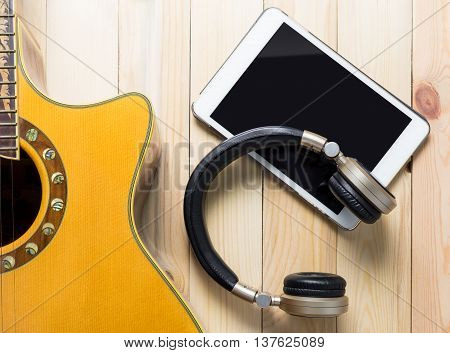 Headphone with Guitar instrument for Music Appreciation vintage tone.