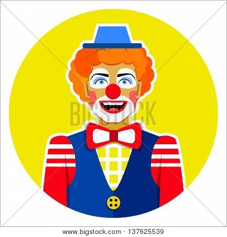 Round emblem smiling funny clown with hat