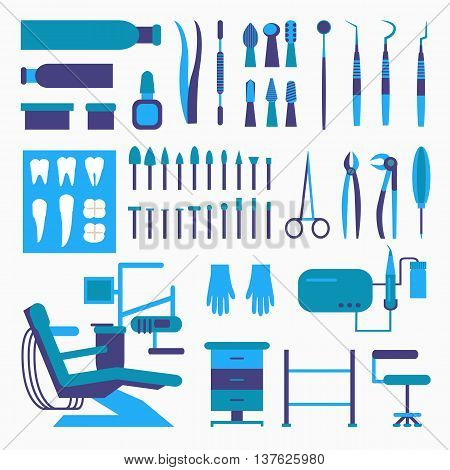 Set of dentist tools and equipments. Dental office, implants and dental care.