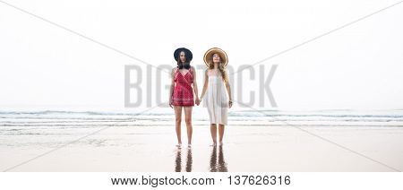 Woman Vacation Beach Holiday Travel Women Concept