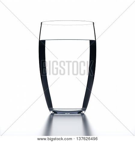 Full Water Glass on white background. Drinking glassware. 3D illustration.