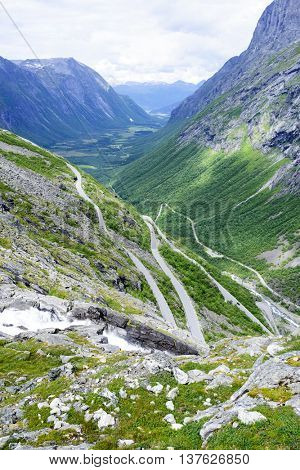 The Trollstigen road between the mountains, Norway. The most winding and dangerous road in Europe.