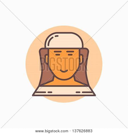 Beekeeper flat icon. Vector beekeeper or apiarist in hat colorful symbol