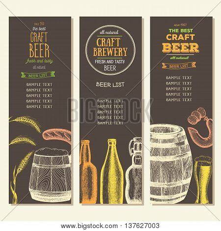 Vintage beer list for bar or brewery. Beer pub menu. Oktoberfest banners set. drawn in ink