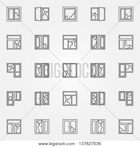 Broken windows icon set. Vector windows with broken glass linear symbols or logo elements in thin line style
