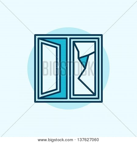 Cracked window colorful icon. Vector flat broken window glass sign