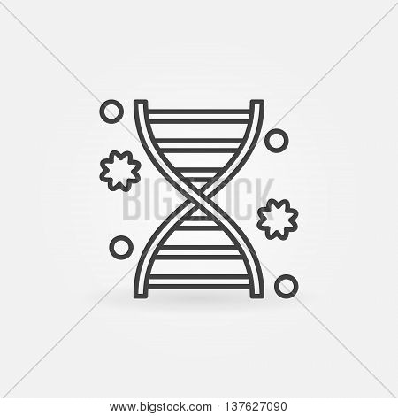 DNA linear icon - vector simple molecular symbol or biotechnology logo element in thin line style