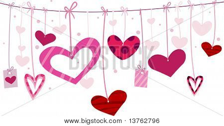 Illustration of Miscellaneous Heart Designs Hanging From a Clothesline