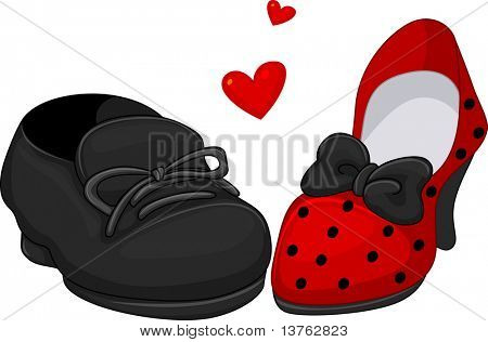Illustration of a Pair of Shoes for Men and Women