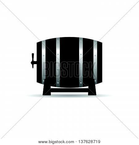 barrel wooden strong in black color illustration on white