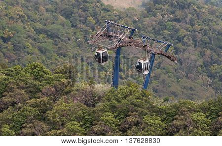 Quang Ninh, Vietnam, July 2, 2016 cable, Yen Tu mountain up, Quang Ninh, Vietnam, landmark, Truc Lam Pagoda contract