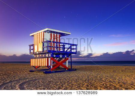 Miami Beach, Florida, USA at the break of dawn.