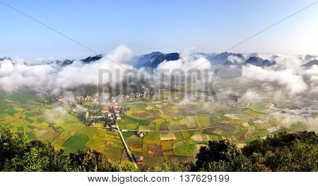 LANG SON, Vietnam, June 28, 2016 paddy fields scenery, high mountains, Lang Son, Vietnam, at harvest time