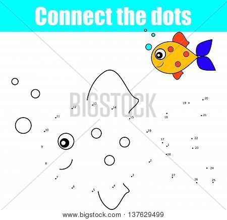 Connect the dots by numbers educational drawing children game. Dot to dot game for kids, coloring page. Animal theme