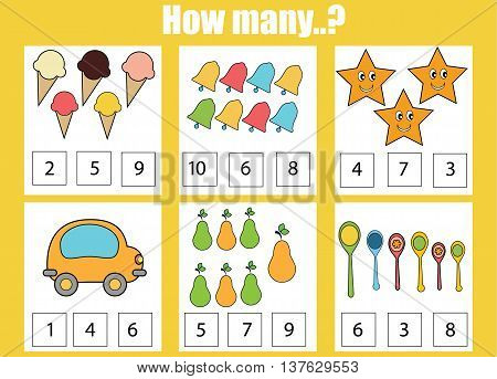 counting educational children game kids activity sheet how many objects task learning mathematics - Kids Activity Sheet