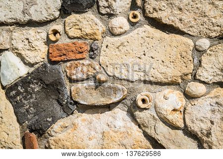 Detail of a stone wall containing fossils.