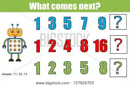 What comes next educational children game. Kids activity sheet, training logic, continue the row task. Mathematics game with numbers for school years kids