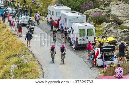 Col de la Croix de Fer France - 25 July 2015:The cyclists Rafael Valls Ferri and Nelson Oliveira of Lampre-Merida Team climbing to the Col de la Croix de Fer in Alps during the stage 20 of Le Tour de France 2015.