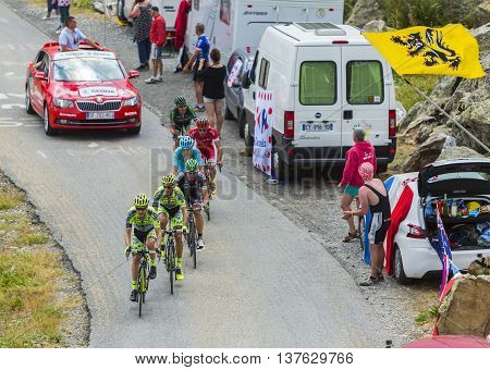 Col de la Croix de Fer France - 25 July 2015:Group of cyclists climbing to the Col de la Croix de Fer in Alps during the stage 20 of Le Tour de France 2015.