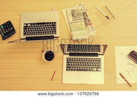Business business office supplies on wooden table office workplace Business concept vintage tone soft focus