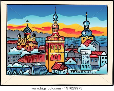 Medieval Old Town illuminated with Saint Nicholas Church, Cathedral Church of Saint Mary and Alexander Nevsky Cathedral at sunset in sketch style, Tallinn, Estonia
