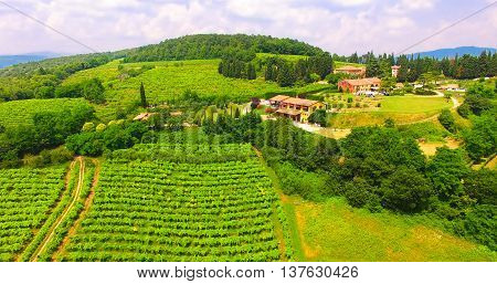 Aerial view of an old farmhouse in the hills around Soave Italy.