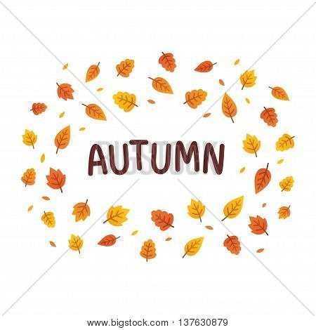 Autumn text frame with seasonal leaves. Simple cartoon vector illustration.