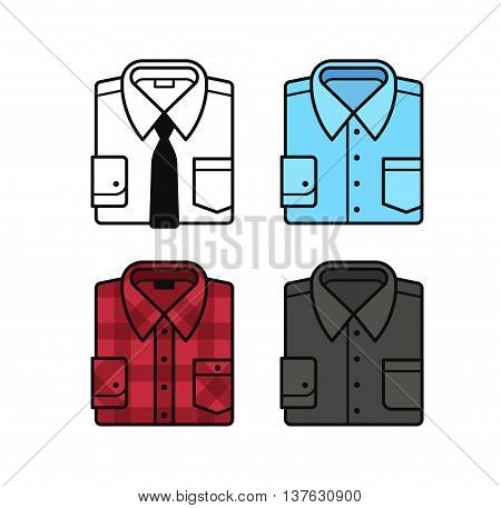Set of folded dress shirt illustrations. White with black tie blue black and red plaid shirt. Flat vector line icons.