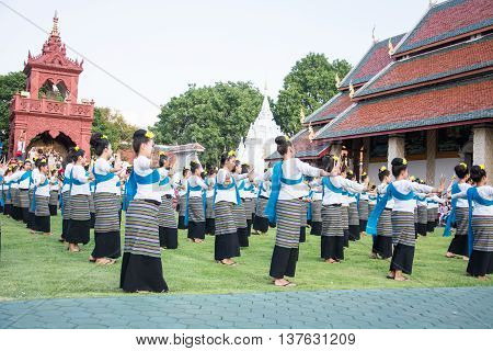 Lamphun Thailand - May 13 2016 : Folk Dance Traditional dances at Ritual Bathing Ceremony for Phra That Hariphunchai Chedi At Wat Phra That Hariphunchai Chedi Thailand. 13 May 2016.