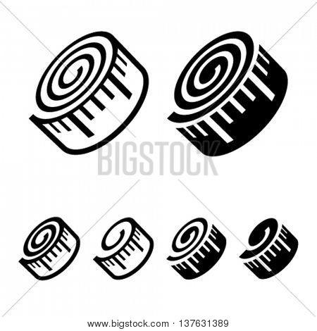 fitness measuring tape black symbol vector