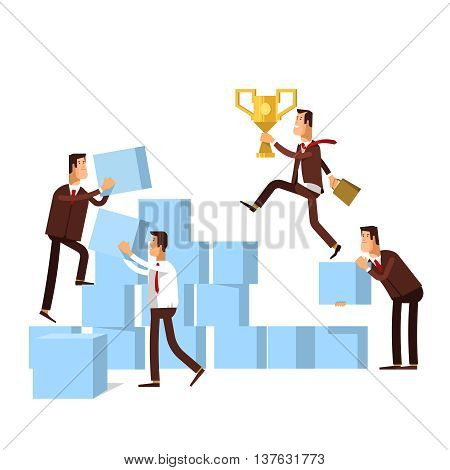 Teamwork - concept business illustration. Business team builds a stairs to success. Business strategy achievement leadership.