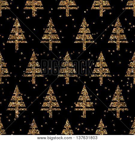 Seamles christmas pattern with christmas glitter trees winter geometrical confetti background