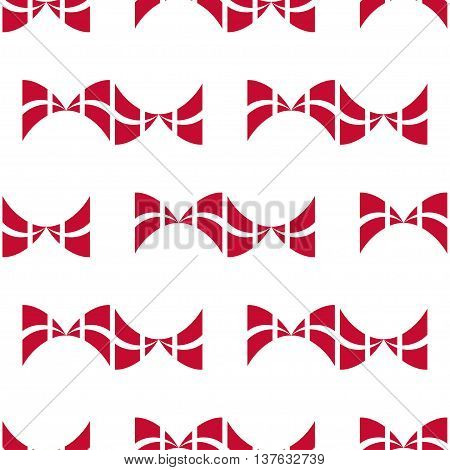 Seamless pattern of stylized flags of Denmark. Constitution or National Day flat seamless pattern. Bows in colors of danish flag. Happy Constitution day of Denmark background.