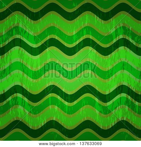 Seamless pattern with green waves in grunge style (vector eps 10)