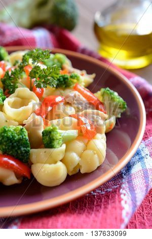 Pasta salad with chicken meat, broccoli, chilli and peppers
