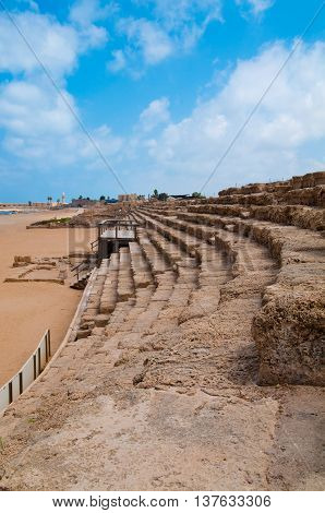 Seating at the Hippodrome in Caesarea, Israel.