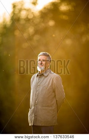 Portrait of a senior man outdoors, walking in a park, full lenght portrait (shallow DOF; color toned image)