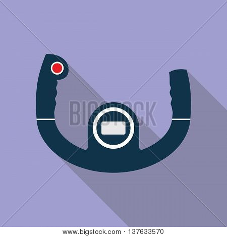 Aircraft steering helm flat style icon with long shadow isolated on one-color background. Vector illustration in EPS10 format with transparency.