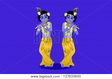 The birthday of Krishna vector illustration of Krishna on a blue background